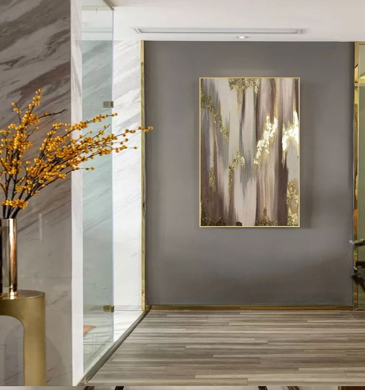 Excellent Artist Golden Oil Painting 100% Handpainted Abstract modern on Canvas Luxury Gold Foil Abstract canvas Painting art