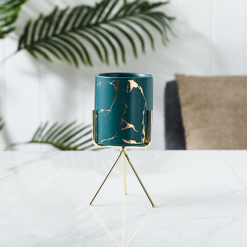 Nordic Style Home Office Golden Marbling Flower Pot Iron Ceramic Pot Makeup Pen Container Set Vases for Decoration