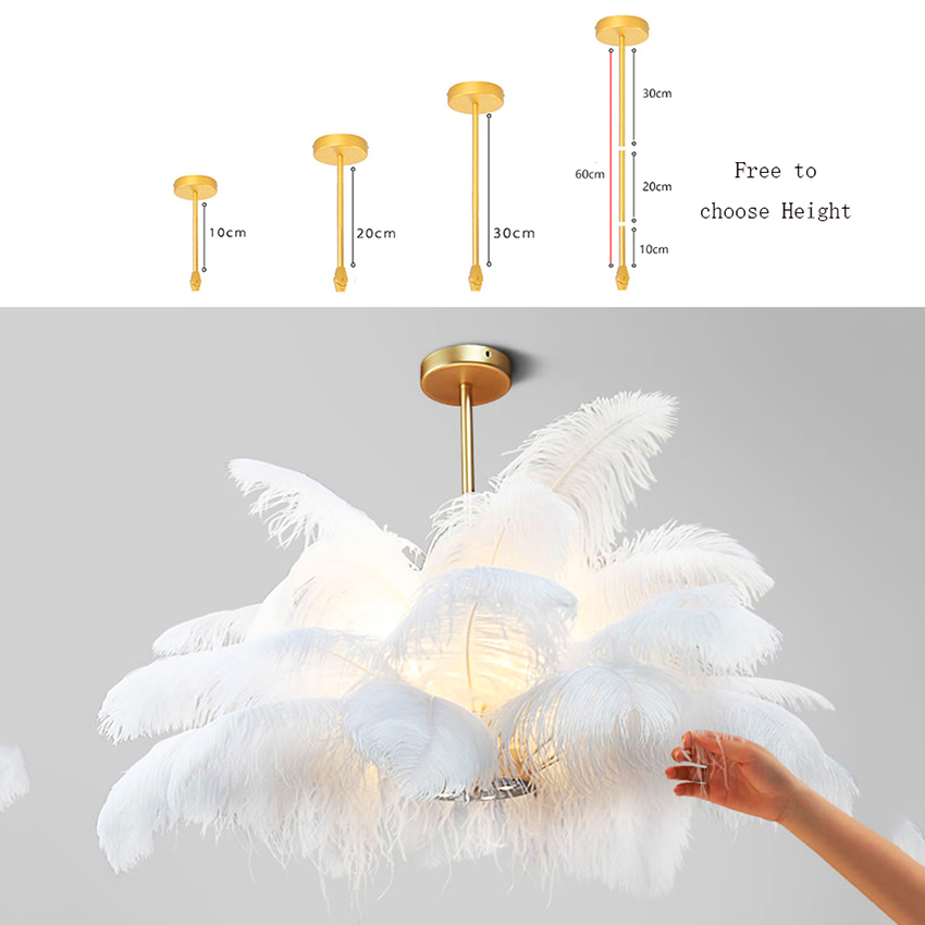 Nordic LD Pendant Lights Natural Ostrich Feather LOFT LED Pendant Lamp Bedroom Living Room Restaurant Lighting Deco Hanging Lamp