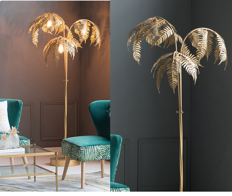 Retro floor lamp table lamp chandelier personality design wrought iron palm leaf shape mall exhibition hall lighting home decora