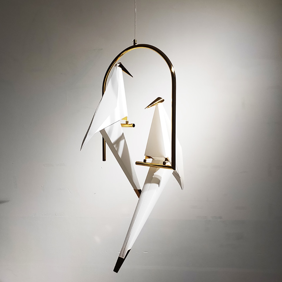 Nordic Bird LED Pendant Lights Lighting Origami Crane Bird Pendant Lamp Bedroom Living Room Dining Indoor Decor Kitchen Fixtures