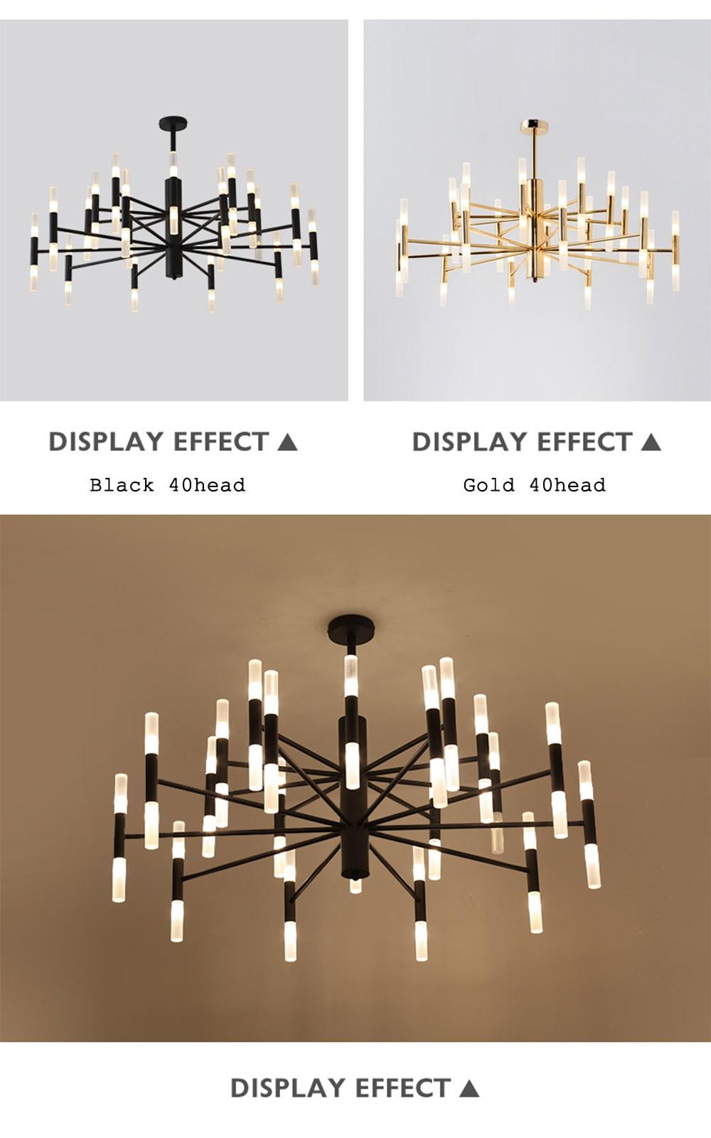 Modern Fashion Designer Black Gold Led Ceiling Art Deco Suspended Chandelier Light Lamp for Kitchen Living Room Loft Bedroom