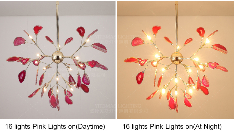 Modern LED Pink chandelier for girls kids room unique italian design purple chandelier in bedroom restaurant decorative lamps