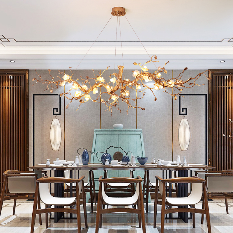 Phube Lighting Large Artistic Branches Chandeliers Coloured Glaze Chandelier Light Lighting Hotel Chandeliers Copper Chandelier