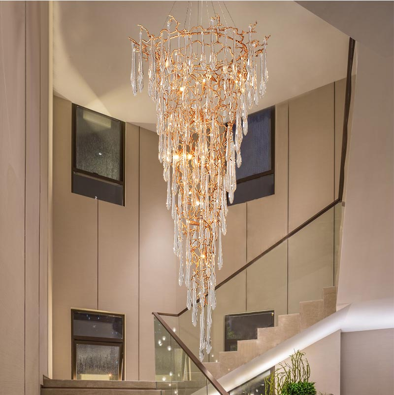 Phube Lighting Duplex Building Stair Crystal Chandelier Copper Colored Glazed Chandeliers Water Drops Chandeliers Lustre