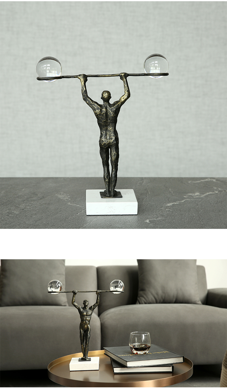 Metal Sports Figure Sculpture Modern Lifting Weights Art Sculpture Statues For Home Decor Craft Figurine Marble Ornament Office