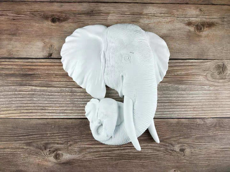 Simulation Mother And Child Elephants Head Decor Wall Hanging Living Room Animal Head Wall Sculpture For Decoration escultura