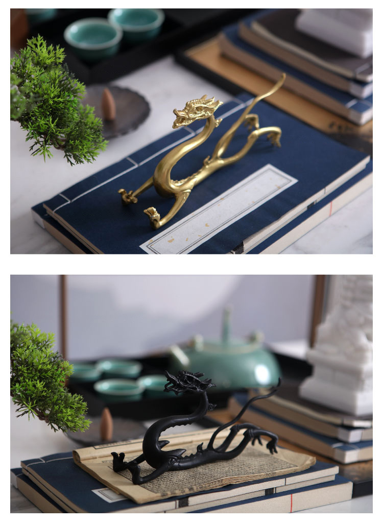 New Chinese Retro Tamron Gold Black Alloy Dragon Statue Home Crafts Room Decor Metal Art Objects Office Hotel Desktop Sculpture