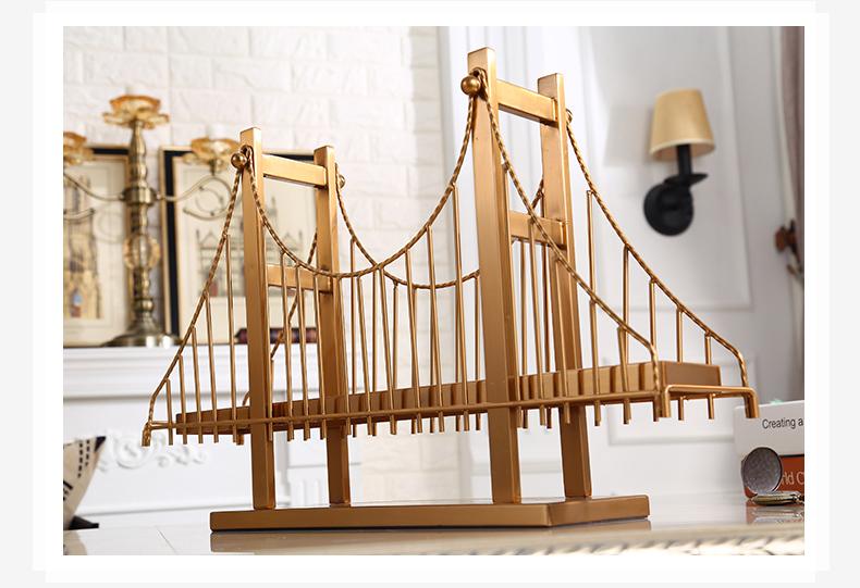 Modern 56cm Building Golden Gate Bridge Decorative Statue Home Metal Crafts Room Hotel Decorative Objects Office Metal Figurines