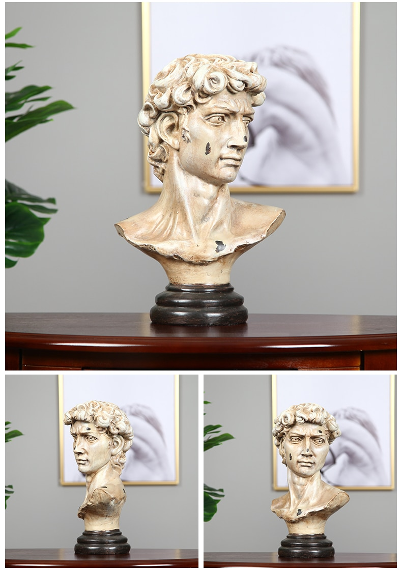 Biblical Mythical Character David Head Resin Crafts Sculpture Gifts Retro Decor For Home Living Room Office Desktop Ornament