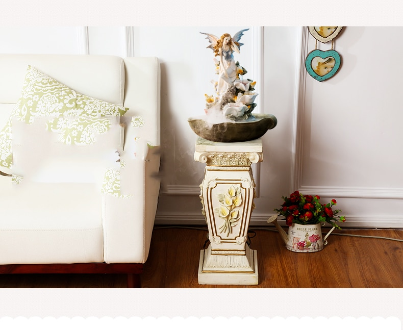 Butterfly Fairy Sitting In Flowers Stastue Waterscape Feng Shui Water Fountain Home Office Desktop Spray Humid Decoration Crafts