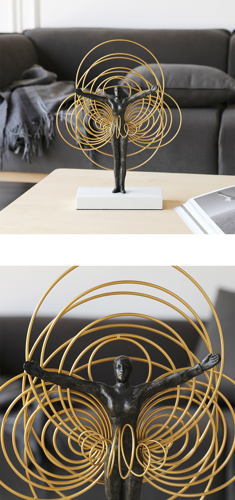Home Decor Accessories Turn Hula Hoop Gymnastics Figure Figurine Living Room Ornament Objects Office White Marble Christmas Gift