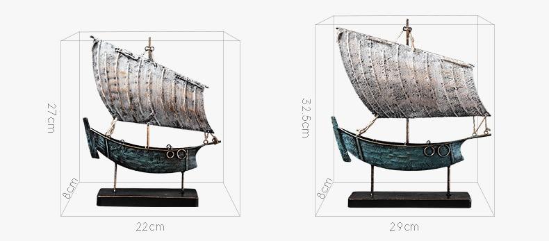 Retro Fantasy Blue Golden Sailing Boat Statue Art Sculpture Metal Boat Figurine Craftwork Home Decoration Accessories Gifts