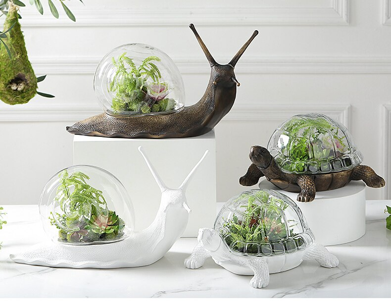 Nordic Snail Tortoise Statue With Glass Cover Decor Micro Landscape For Home Living Room Office Desktop Flower Pots Soft Decor