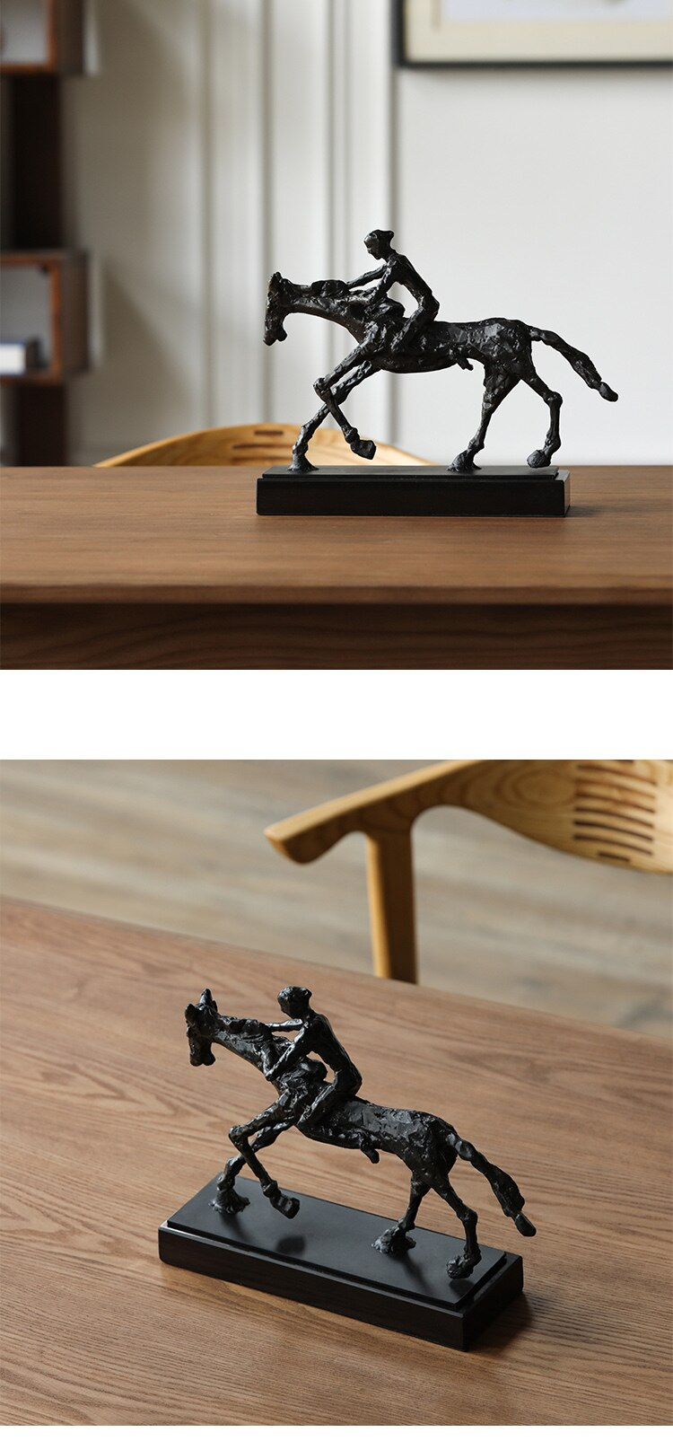 Creative Black Metal Riding Horse character Statue Home Decor Crafts Room Decoration Objects Office Marble Figurines Sculpture