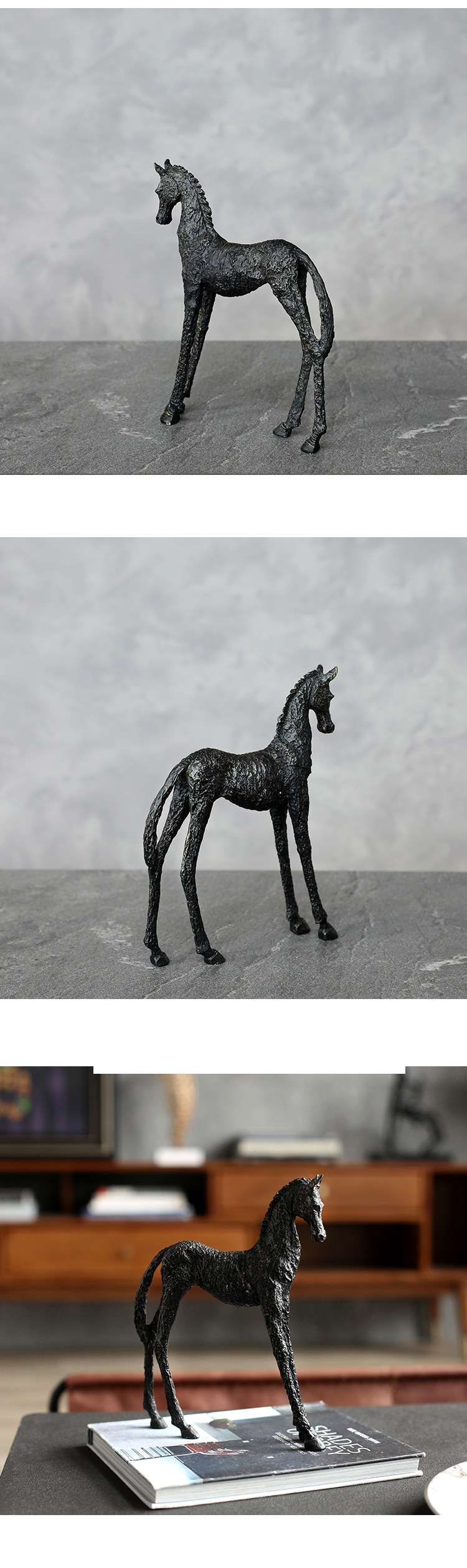 Standing Horse Figurines Decorative Animals Desktop Gift Metal Statue Ornaments Home Decoration Casa Living Room Accessories