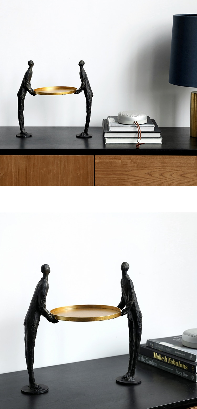Two Metal Abstract Figures Carrying Golden Plates Statue Sculpture For Home Decor Accessories Modern Art Room Ornaments Figurine