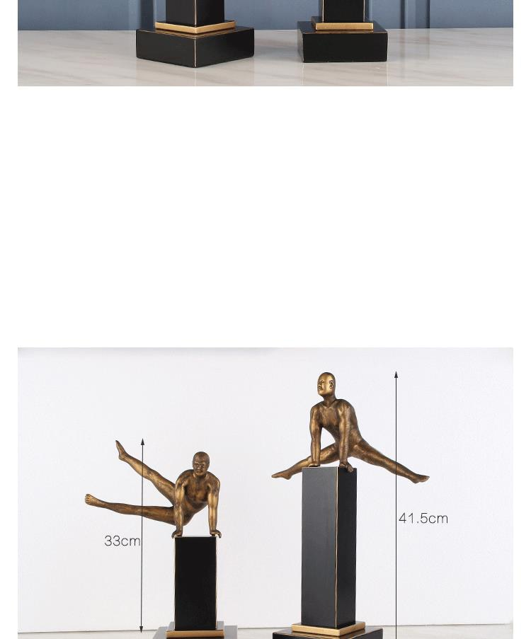 Strong Man Doing Gymnastics Ornaments Sculpture Sports Characters Personality Decor Statue Metal Home Decor Accessories Gifts