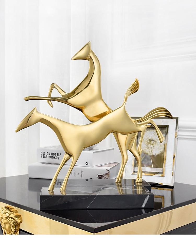 Modern Abstract Metal Dog Figurines Desktop Home Decor Accessories Living Room Hotel Office Black Marble Sculpture Wedding Gift