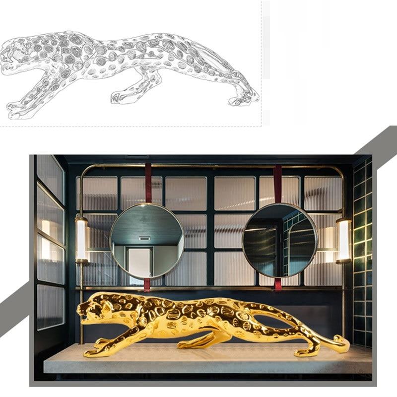 European Leopard Sculpture Lucky Panthera Pardus Statue Resin Craft Desktop Modern Simple Animals Figurines Home Decorate R2768