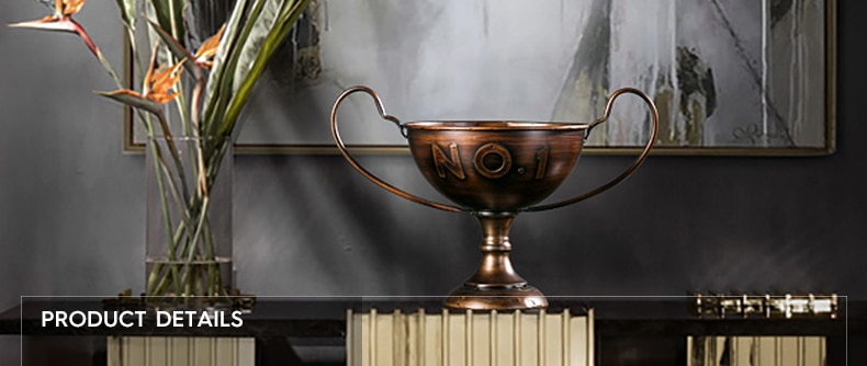Classical Goblet Retro Nostalgic Wrought Iron Gold NO 1 Trophy Home Decor Accessories Figurine Living Room Ornament Office Gifts