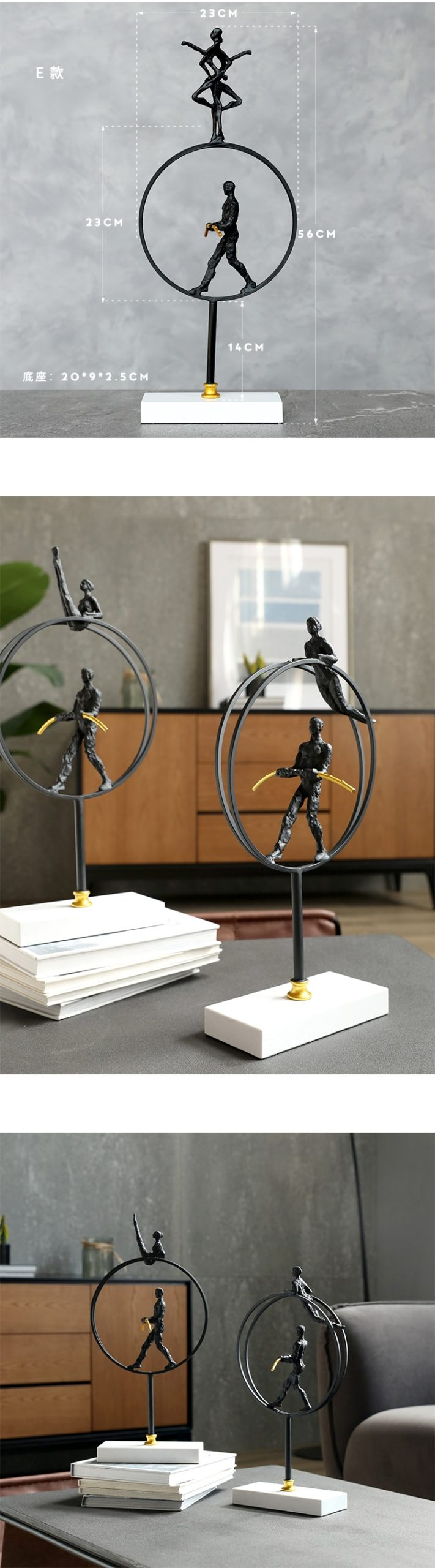 Modern Stand In Circle Balance Sport Abstract Character Statue Metal Arts Sculpture Marble Crafts Home Desktop Decor Office Room