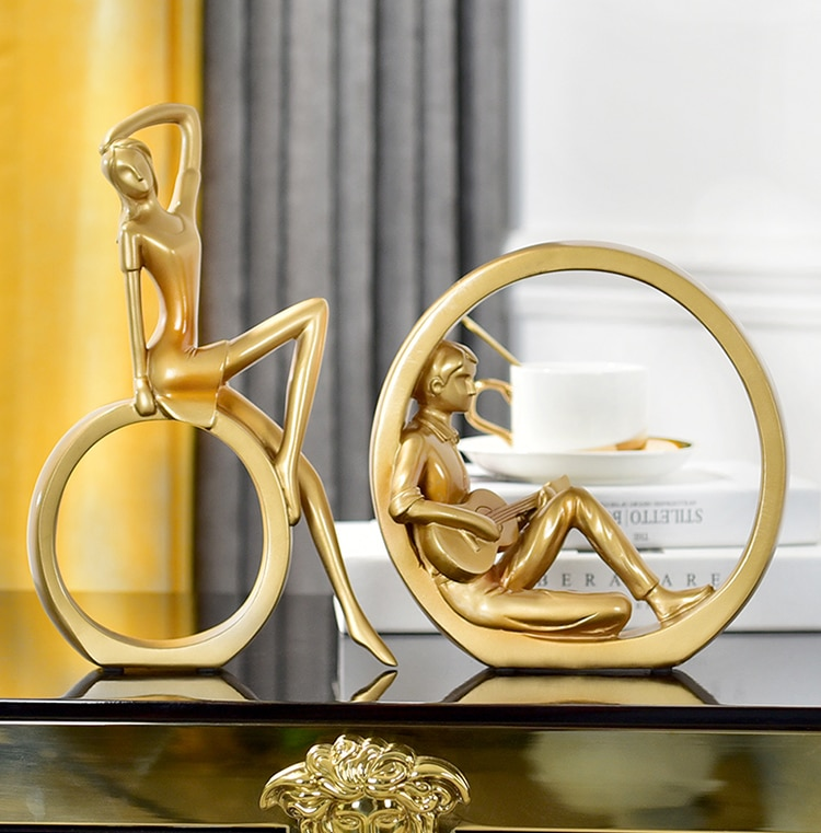 Abstract Man Lean On A Circle Play Guitar Statue Handicraft Christmas Decor For Home Sculpture Escultura Home Decor Accessories