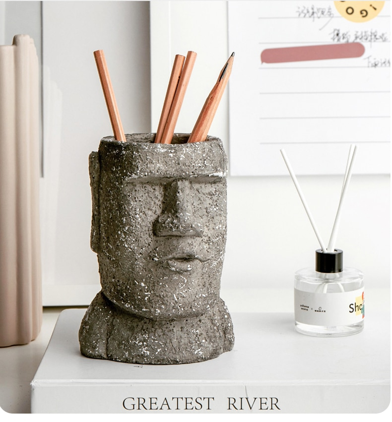 Easter Island Garden Statue Yard Moai Character Vase Figurines Home Furnishing Statue Cement Flower Pot Decorative Ornaments