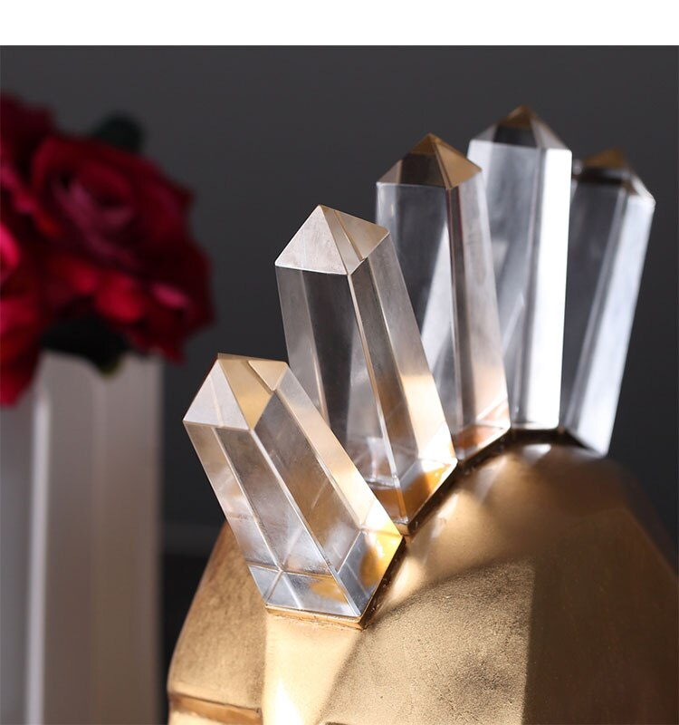 Gold Blue Silver Abstract Character With Punk Sculpture Crystal Pillar Statue Home Living Room Hotel Decoration Accessories