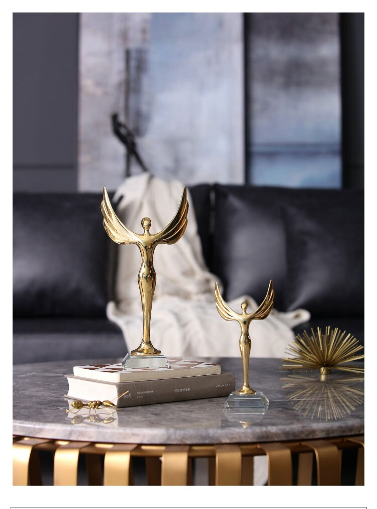 Modern Home Statues Sculpture An Abstract Little Freedom Golden Man For Decoration Accessories Crystal Ornaments Home Decor Gift