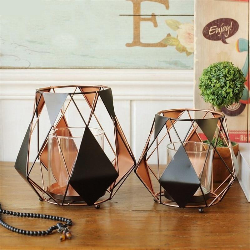 NOOLIM European Iron Geometric Decorative Candlestick Black Geometric Wind Light Classic Candle Holder Home Wedding Decoration
