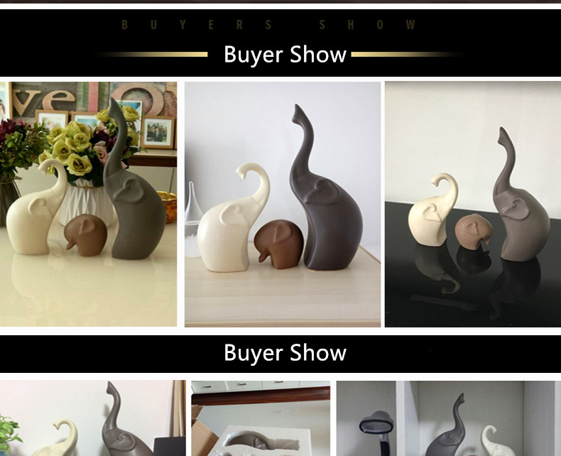 Europe Ceramics Elephant Figurines Animal Ornaments Handicrafts Miniatures Gifts for Home Wedding Decoration Crafts