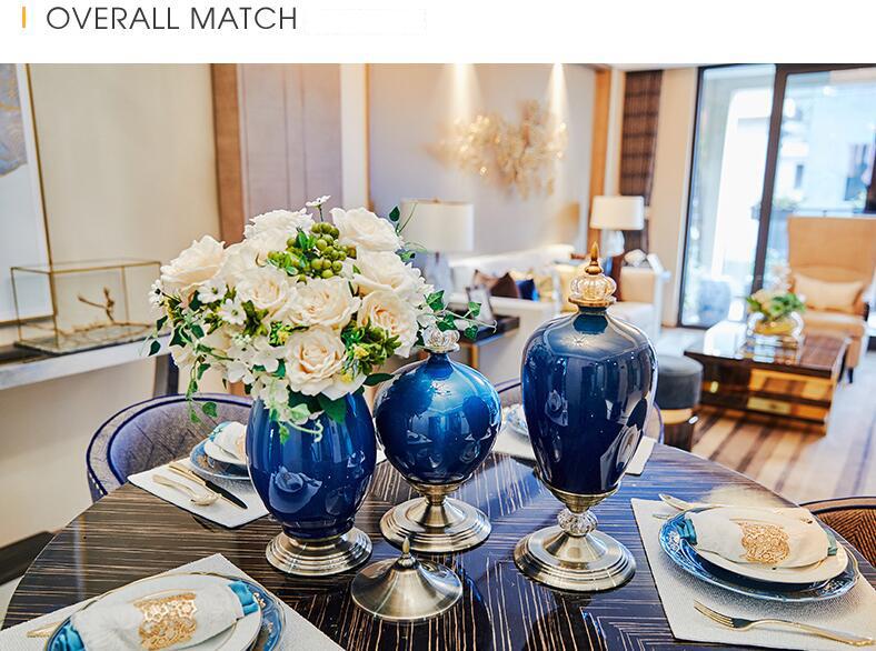 European Luxury Ice Crack Ceramic Vase Figurine Home Furnishing Decoration Craft Livingroom Desktop Porcelain Flowerpot Ornament