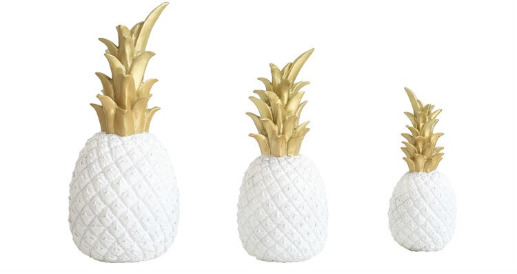Nordic Creative Resin Gold Pineapple Fruit Crafts Living Room Wine Cabinet Window Desktop Home Ornament Table Decoration Crafts