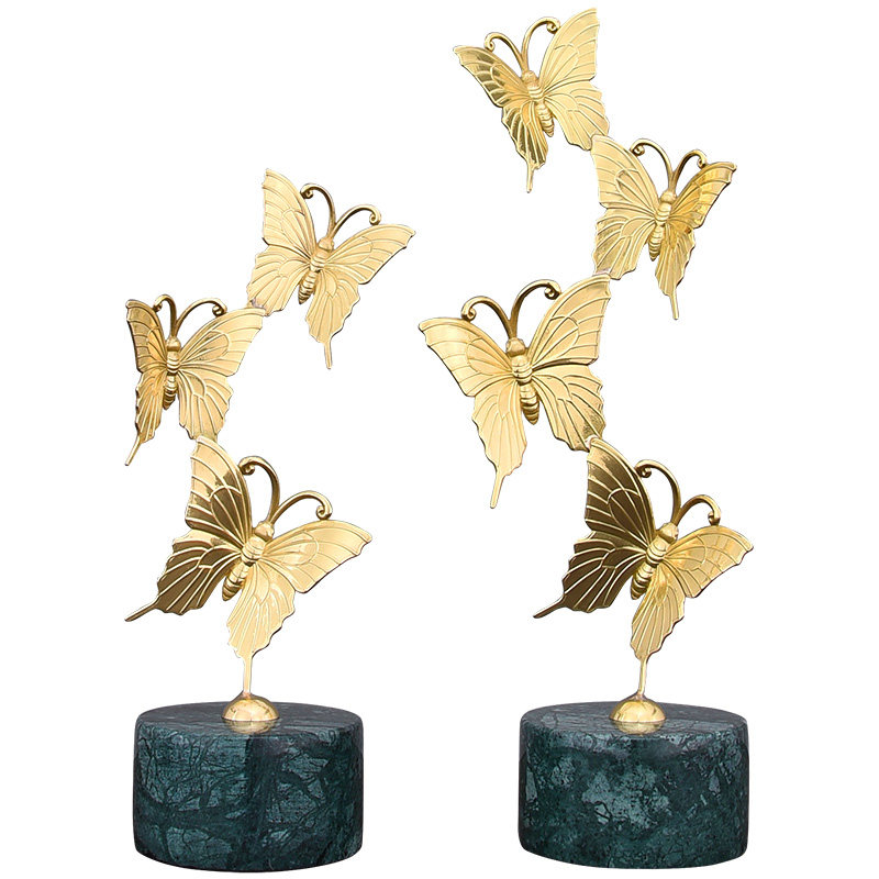 Luxury Brass Iron Butterfly Ornaments Crafts Home Furnishing Decoration Hotel Living room Figurines Office Desk Marble Statue