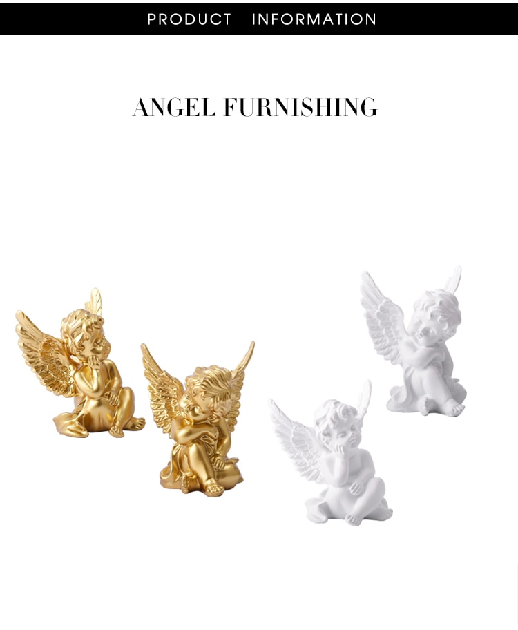 European Resin White Gold Cute Cupid Angel Decoration Crafts Creative Desktop Ornament Christmas Wedding Gift Creative Figurines