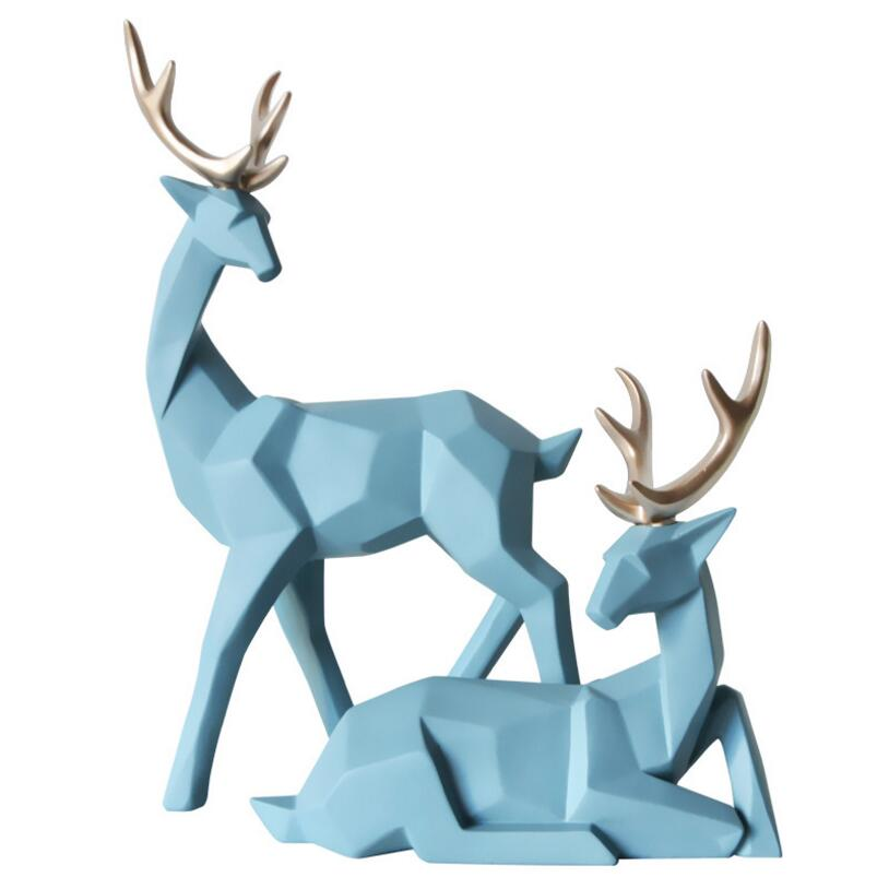 Nordic Style Creative 3D Solid Geometry Lucky Deer Ornaments Resin Craft Home Furnishing Decoration Office Desktop Figurines Art