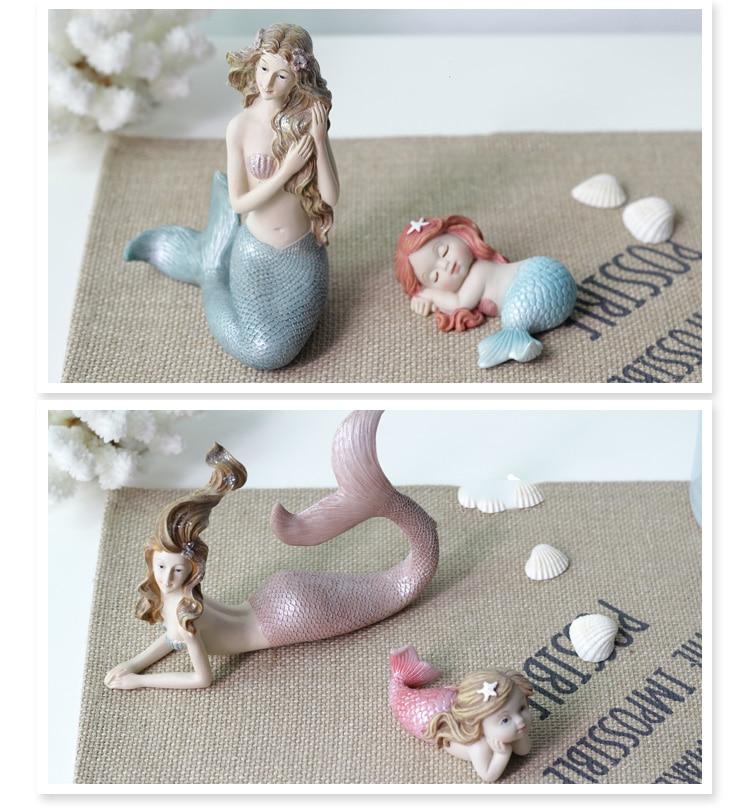 Creative Resin Cute Mermaid Princess Figurine Vase Fish Tank Ornament Decor Art Home Furnishing Decoration Crafts Birthday Gift