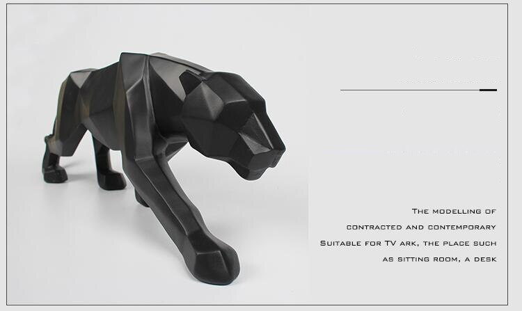Nordic Minimalist Black White Resin Leopard Ornaments Crafts Hotel Home Deaktop Statue Coffee Office Animal Figurine Decoration