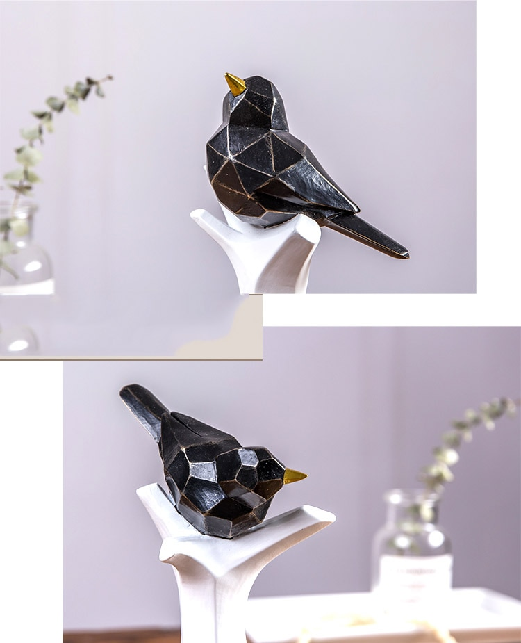 Nordic Golden Geometric Bird Standing On A Black Branch Statue Home Crafts Room Decor Objects Office Resin Sculpture