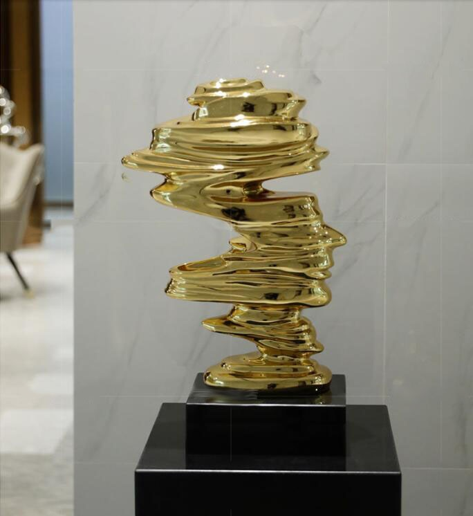 Large Size 60cm High Character Tornado Statue Marbled Plating Gold Silver Resin Sculpture Modern Art Home Decoration Accessories