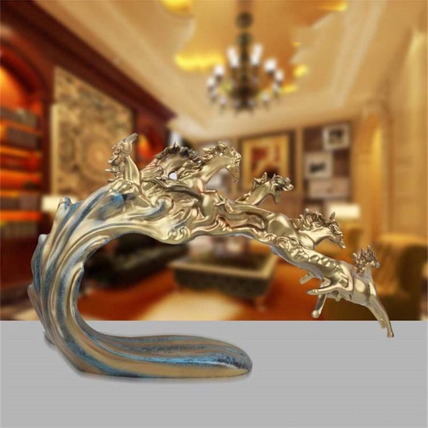 New Retro Six Horse Statues And Sculptures Geometric Animal Decoration Statue Resin Crafts Home Decoration Accessories Gifts