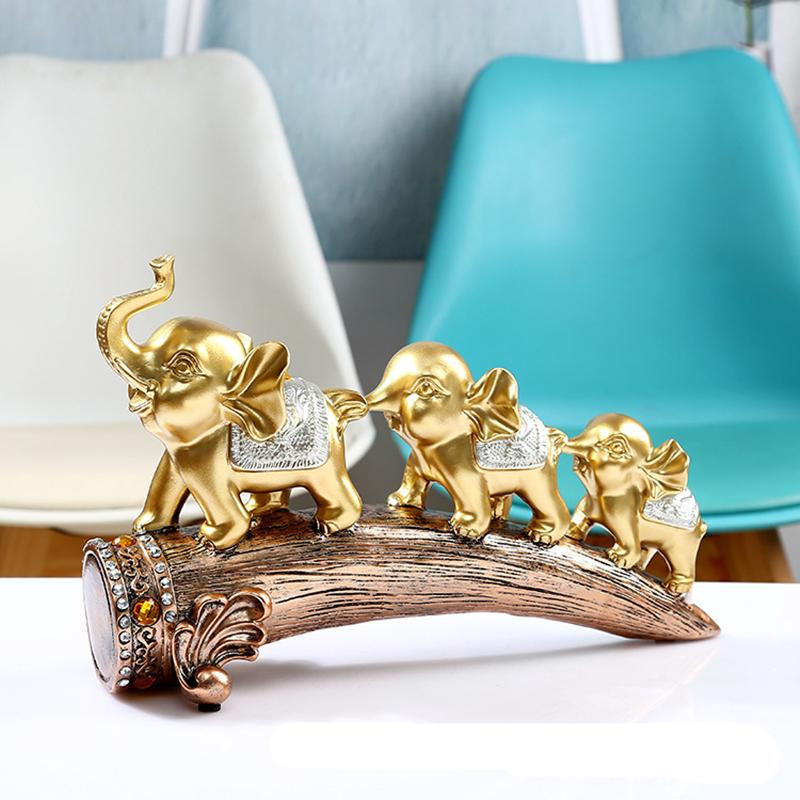 Three Gold Elephant Animal Resin Statue Crafts Decoration Living Room TV Cabinet Decoration Porch Wine Cabinet Decoration