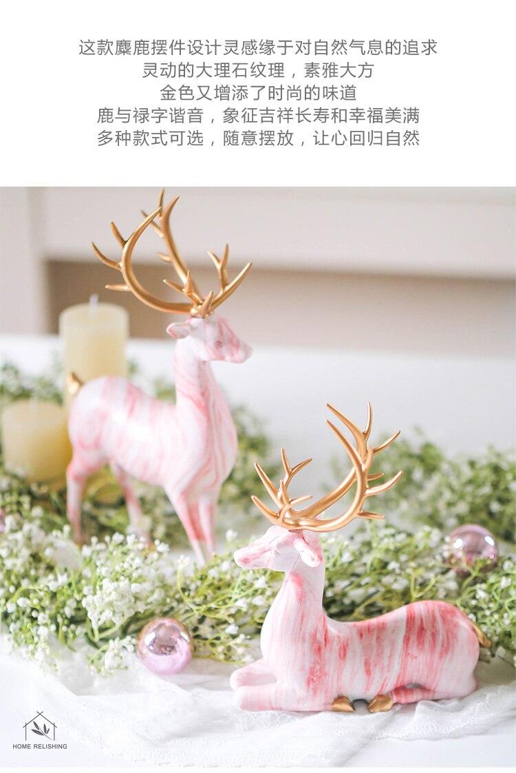 Creative Home Living Room Ornaments Imitation Marble Christmas Elk Decoration TV Wine Cabinet Decoration Resin Handicraft