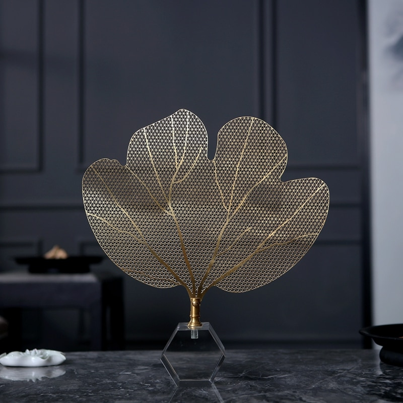 Modern Creative Golden Copper Leaves Vintage Statue Home Decor Crafts Room Decoration Objects Office Crystal Figurines