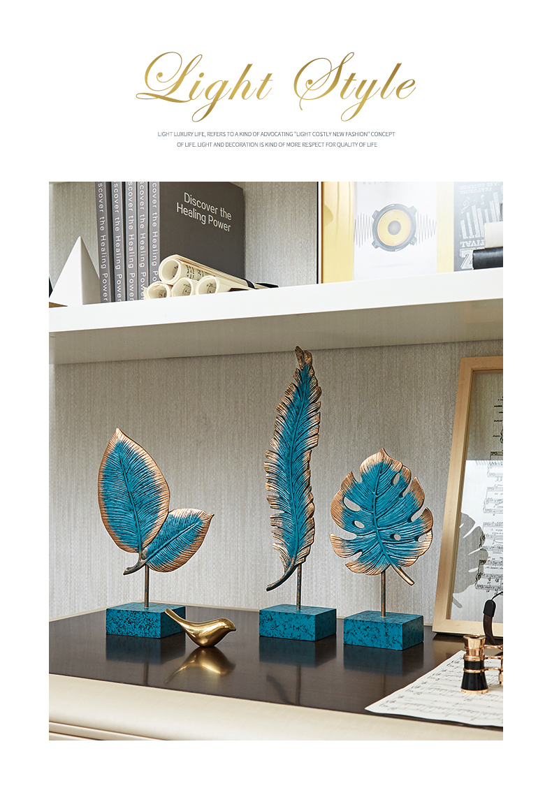 Resin Ornaments Blue Palm Leaves Statue Desk Decor Marble Texture Base Statuette Nordic Home Decoration Accessories Modern