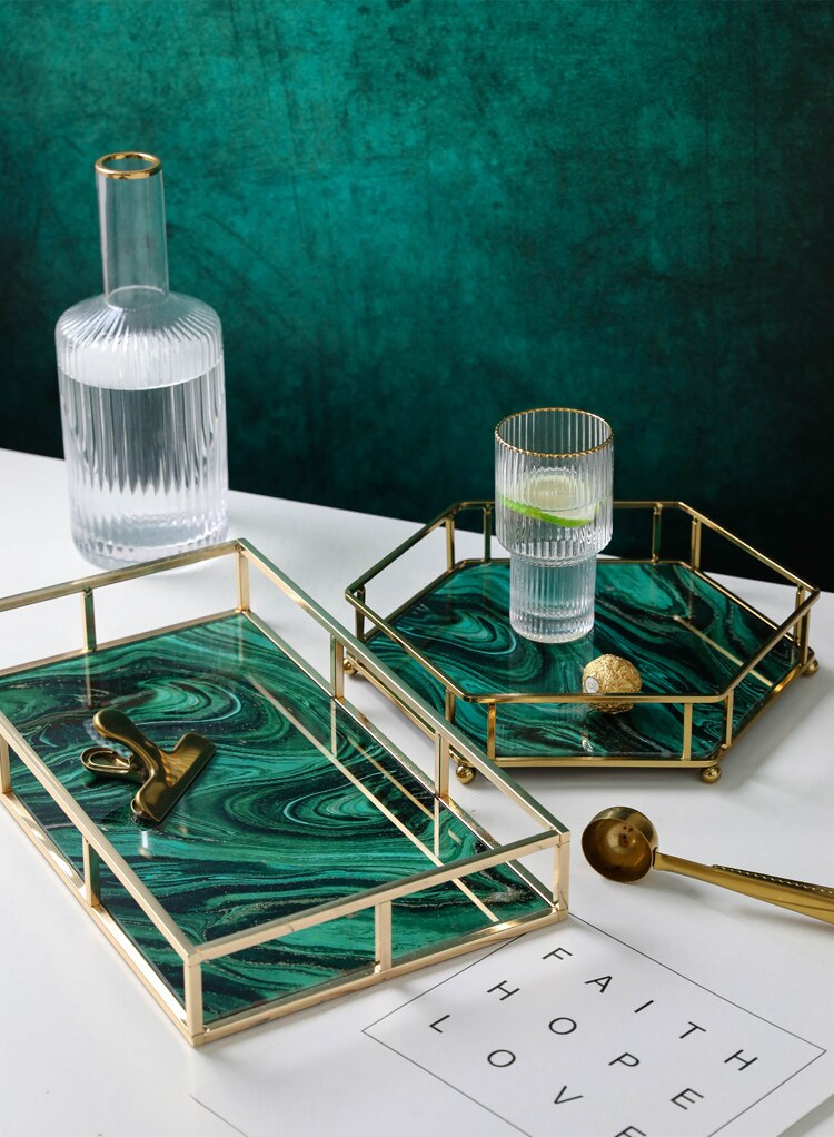 Nordic Agate Texture Storage Tray Multiple Styles Home Decor Plates Golden Metal Mirror Plate Skincare Jewelry Display Tray