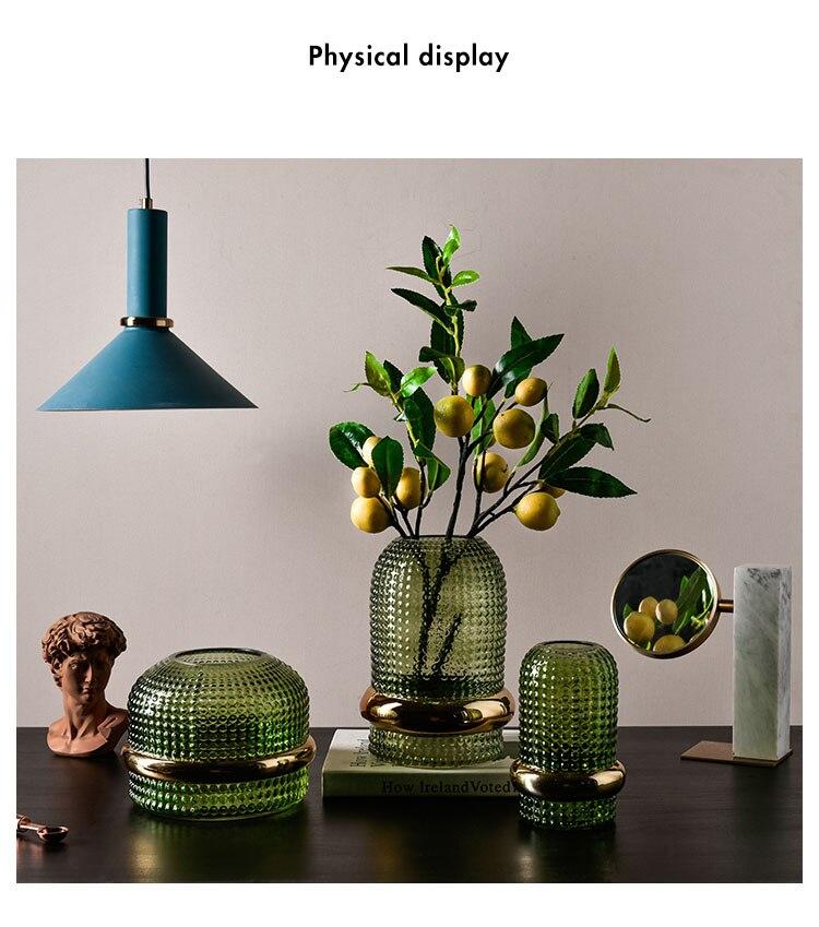 Nordic Flower Vase Home Decoration Glass Vases Vintage Pine Green Embossed Transparent Green Hydroponic Flowers Pot Floral