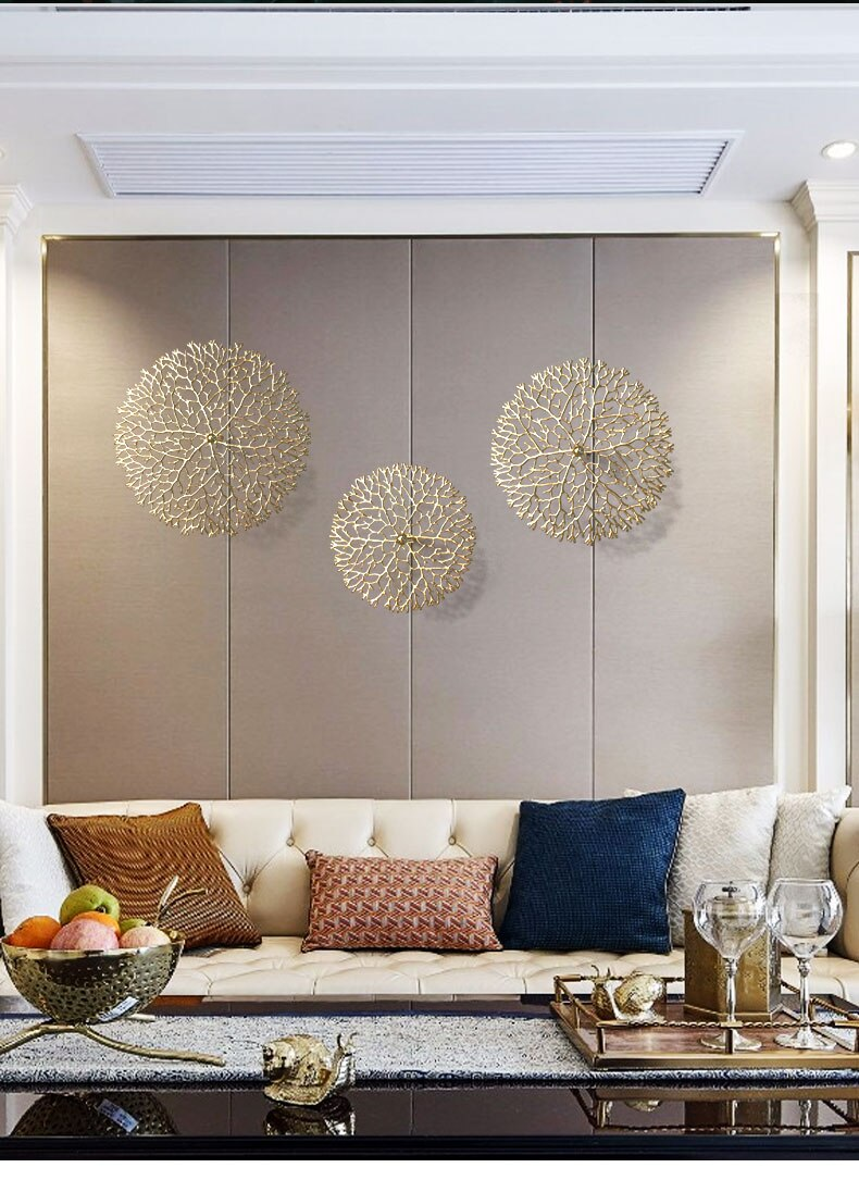 Nordic Creative Wall Hanging Iron Golden Branch Wall Decoration Living Room Home Sofa Background Home Decoration Accessories