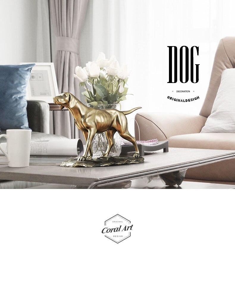 Copper Home Decoration Golden Resin Figurine Strong Pointer Dog Living Room Bedroom Desk Ornament Lucky Feng Shui Adornment